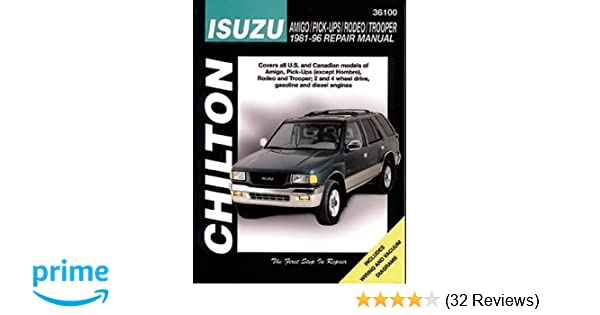 Isuzu amigo pick ups rodeo and trooper 1981 96 chilton total isuzu amigo pick ups rodeo and trooper 1981 96 chilton total car care series manuals chilton 8601416933313 amazon books fandeluxe Gallery