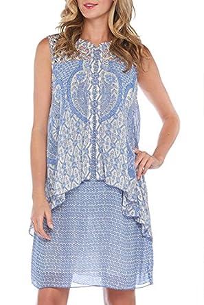 Kaktus Women's Sleeveless Layered Summer Casual Dress