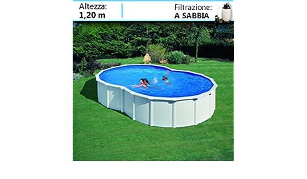 GRE - Piscina ocho modelo VARADERO con pared de acero blanco - 500x340x120: Amazon.es: Hogar