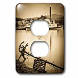 paddle pic - Scenes from the Past Magic Lantern - Minne Ha Ha Gambling Paddle Boat on the Mississippi Vintage 1890 - Light Switch Covers - 2 plug outlet cover (lsp_246031_6)