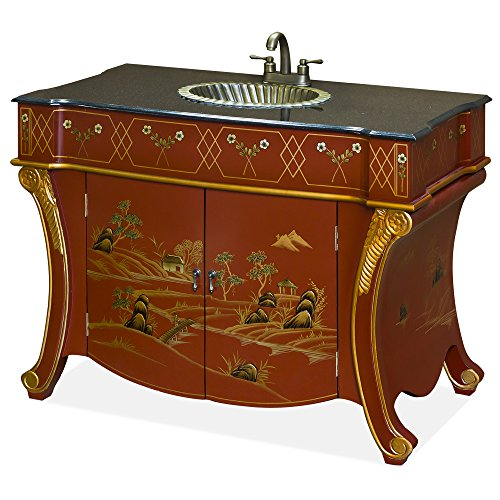 ChinaFurnitureOnline Chinoiserie Vanity Cabinet, Hand Painted Chinese Scenery French Style Commode Granite Top Brass Sink Matte Red Finish