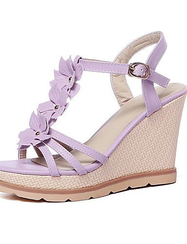 ShangYi Women's Shoes Wedge Heel Slingback / Open Toe Sandals Outdoor / Dress / Casual Purple / Silver