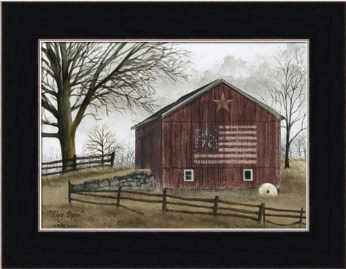 Americana Framed (Flag Barn by Billy Jacobs Primitive Folk Art Americana Landscape 8.5x6.5 in Framed Art Print Picture)