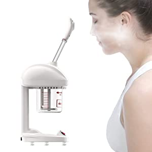 Facial Steamer, Humidifier Mist Home Use Portable Mini Face Advanced Ionic Spraying Steamers Moisturizing Cleansing Pores Reduce Fine Lines Skin Care Machine 360°Rotation