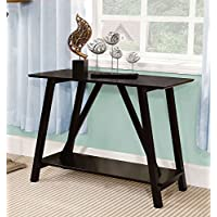 Furniture of America CM-AC6218BK Elgg Black Console Table Accent Chairs, 30 H