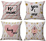 Geepro 18 inch Valentine's Day Throw Pillow Covers Linen Cotton Sofa Cushion Covers