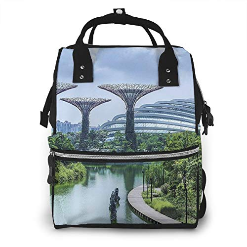 Omigge Multi-Function Travel Bags, Baby Diaper Bag Backpack for Mom, School Bags Large Capacity,Waterproof and Stylish Personalized Design - Bay_Singapore_Gardens