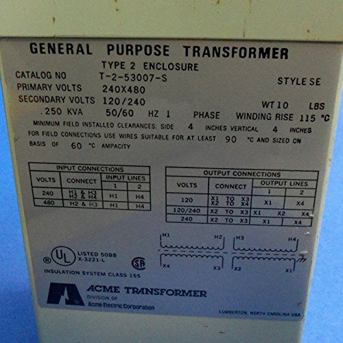 Acme Electric T253007S Low Voltage Distribution Transformer, Single Phase, 240 x 480 Primary Volts - 120/240 Secondary Volts, 0.25 kVA