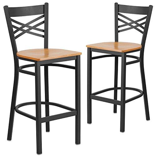 Flash Furniture 2 Pk. HERCULES Series Black ''X'' Back Metal Restaurant Barstool - Natural Wood Seat (Black Natural Bar Stools)