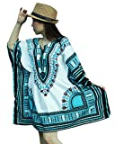 Ornatcha Pha Fai African Traditional Dashiki Dress (White and light Blue)