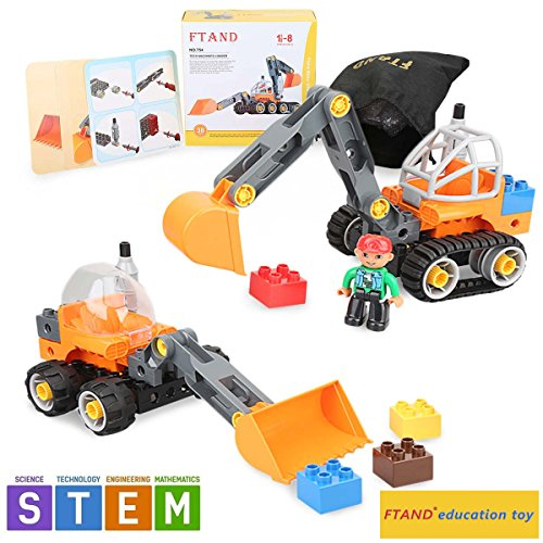 Building set block STEM Education toy Bulldozer Excavator Vehicle Gift for 2,3,4,5,6,7,8 years old by Ftand