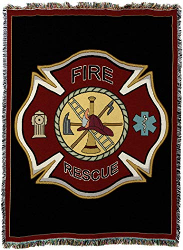(Pure Country Weavers - Firefighter Fireman Shield Woven Tapestry Throw Blanket with Fringe USA Size 72 x 54)