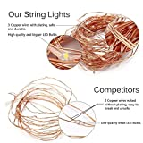 66 Ft 200LEDs Waterproof starry fairy copper string lights USB Powered for Bedroom Indoor Outdoor Warm White Ambiance Lighting for Patio Wedding Decor Power Adapter Included