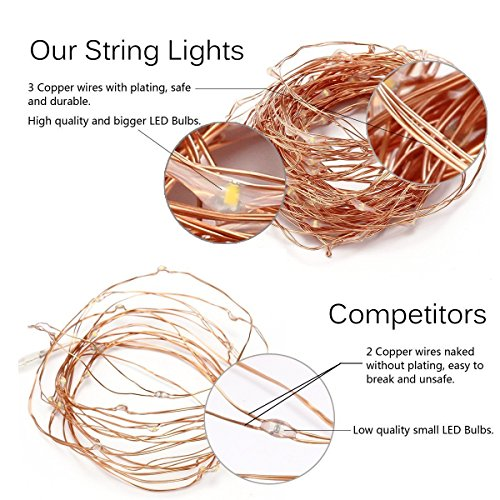 2 Pack, Waterproof Starry Fairy Copper String Lights USB Powered fwith SWITCH or Bedroom Indoor Outdoor Warm White Ambiance Lighting for Patio Wedding Decor 66 feet 200 LEDs Power Adapter Included by 12APM (Image #1)