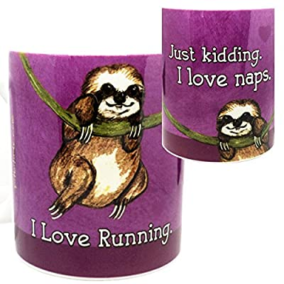 Sloth Loves Running Mug By Pithitude - One Single 11Oz. Green Coffee Mug - Sloth Novelty Coffee Mugs