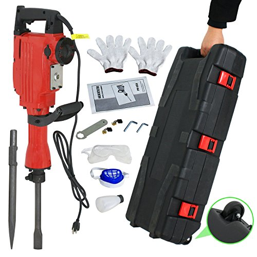Top F2C 2200W Heavy Duty Electric Demolition Jack Hammer Concrete Breaker Power Tool Kit 2 Chisel 2 Punch Bit Set W/Case, Gloves hot sale