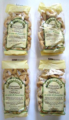 Forneria Italiana: Italian Taralli with Fennel Seeds ''Ai semi di finocchio'' * 10.58 Ounce (300gr) Package (Pack of 4) * [ Italian Import ] by Forneria Italiana