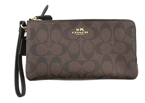 Coach Signature PVC Double Zip Wallet/Wristlet in Brown/Black - F54057 IMAA8 by Coach