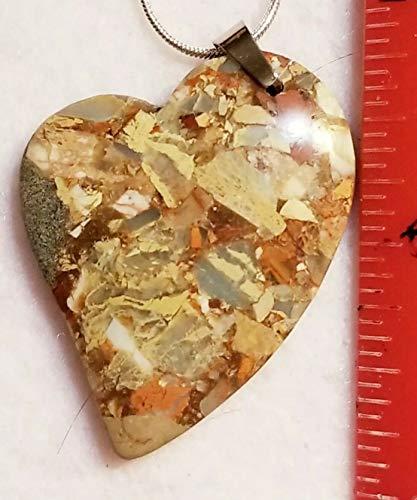 Snake Skin Jasper Pendant Bead Heart 925 Chain US-128 ()