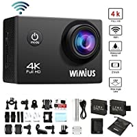 WiMiUS Q1 4K Wifi 131ft Waterproof Sports Action Camera With 16 MP,170° Wide Angle, 2.0 LCD Screen+21 All In One Kit Set Car Helmet Camcorder,SD Card Exclude(Black)