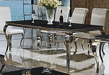 Schön Esstisch Lara Schwarz 180 X 90 Cm Esszimmertisch Edelstahl Glas Barock  Schreibtisch