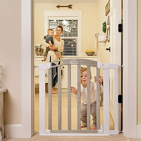 HomeSafe Classic Home Walk-Through 2-Direction Swing Gate in White/Grey, Auto Close and Hold Open Features, Pressure or Hardware Mountable (Mounting Hardware Included)