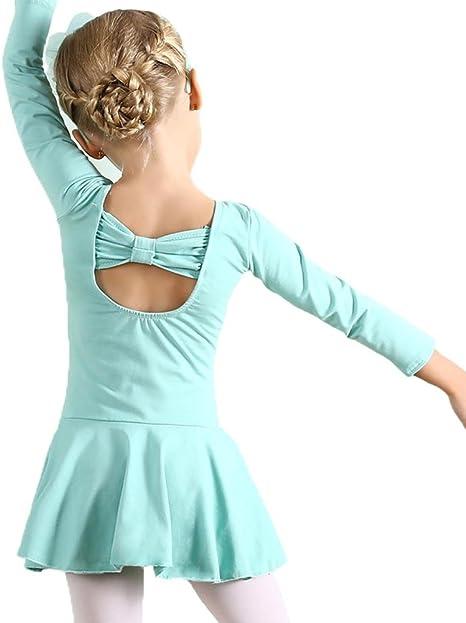 Girls Dance Ballet Dress Long Sleeve Leotard Kids Classic Bowknot Design