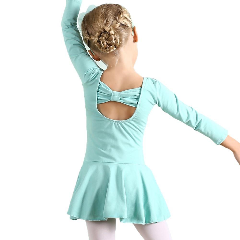 Coralup Girl's Back Bowknot Dance Leotard Dress(Light Green,4-5 Years)
