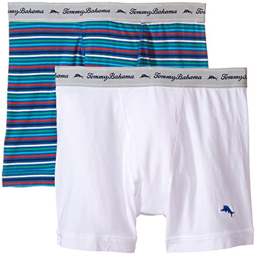 Cotton Embroidered Briefs - Tommy Bahama Men's 2 Pack Stretch Cotton Comfort Stripe Boxer Brief, Tommy Blue Print/White, Medium