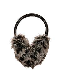 ZLYC Women Leopard Print Faux Fur Earmuffs with PU Adjustable Headband Earwarmer (Black)