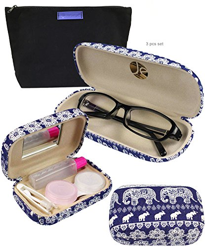 Blue Elephant Print Matching Glass Case + Lens Kit Combo (Includes Free Cleaning Cloth)