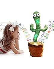 Konfulon Rechargeable 120 English songs Dancing Cactus Repeat What You say USB Electronic Plush Toy Decoration for Kids Funny Early Childhood Education Toys(Sing+Repeat+Dance+Recording+LED)