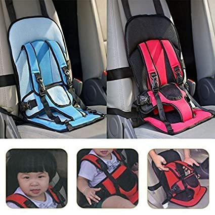 Petrice Car Cushion Seat With Safety Belt For Small Kids Babies Multi Color 1 Pack
