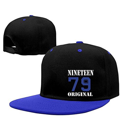 Custom Unisex-Adult 1979 Original 36th Birthday Gift Flat Bill Baseball Caps RoyalBlue