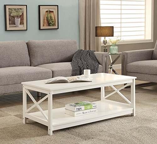 White Finish X-Design Wooden Cocktail Coffee Table ()