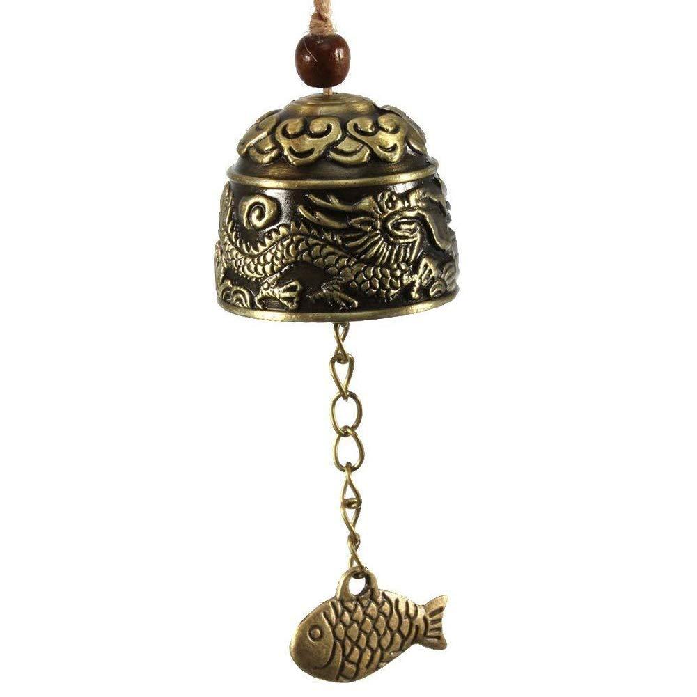 JoyFan Windspiel chinesischer traditioneller Vintage Drache Fengshui Glocke Glücksbringer Segen Haus Garten Windspiel, Bronze, Drache, Einheitsgröße Einheitsgröße