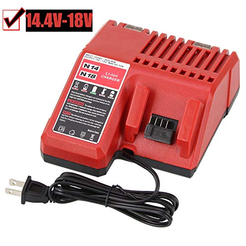 Fhybat Replacement M18 Battery Charger for Milwaukee 14.4v-18v Red Lithium ion Rapid Charge 48-59-1812 (Milwaukee Battery Charger)