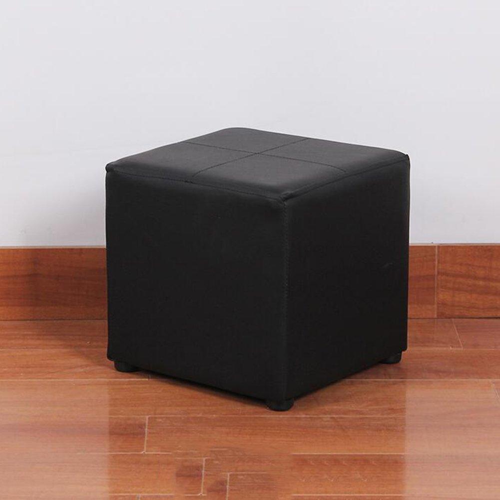 Black SUN Soft Square Stool Waterproof PU Sofa Stool Makeup Stool shoes Stool 27  27CM (color   BLACK)