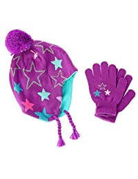 CTM® Girls' 3-6 Star Peruvian Hat with Matching Gripper Glove Set, Purple