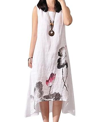 dce65c52ce Femme Rétro Robe Longue Col Rond Coton Lin Grande Taille sans Manches  Imprime Vintage Elegant Chic