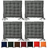 4 Set Beautissu Seat Cushion Lea - Garden Chair Pad 37 x 37 x 5 cm 15-Point-Stiched Dining Chair Cushion Anthracite