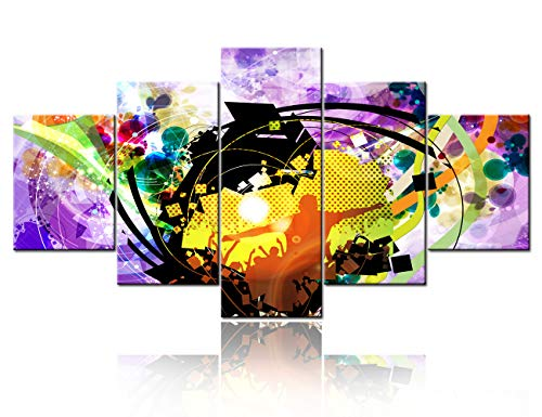 5 Panels Abstract Rock Music in Night Club Canvas Wall Art Graffiti Celebration Home Decor Decal Large Posters Printed Painting for Living Room Bedroom Stretched and Framed Ready to Hang - 60