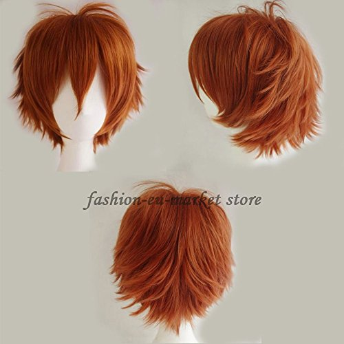 Synthetic Short Straight Fluffy Full Wig Oblique Fringe Curly Hair Tail for Anime Cosplay Costume Party for Men / Women (dark orange)