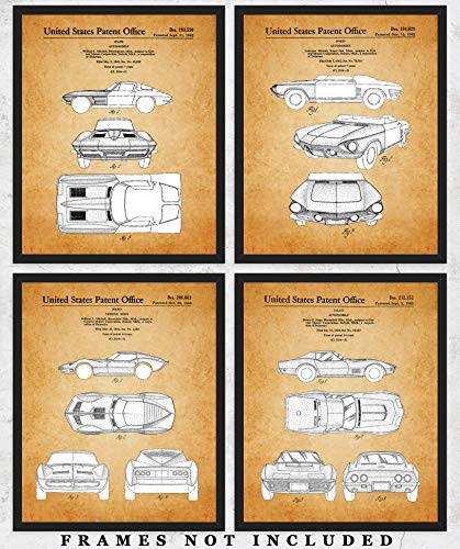 Vintage Corvette Patent Wall Art Prints: Unique Room Decor for Boys, Men, Girls & Women - Set of Four (8x10) Unframed Pictures - Great Gift Idea for Corvette Fans & Sports Car Enthusiasts!