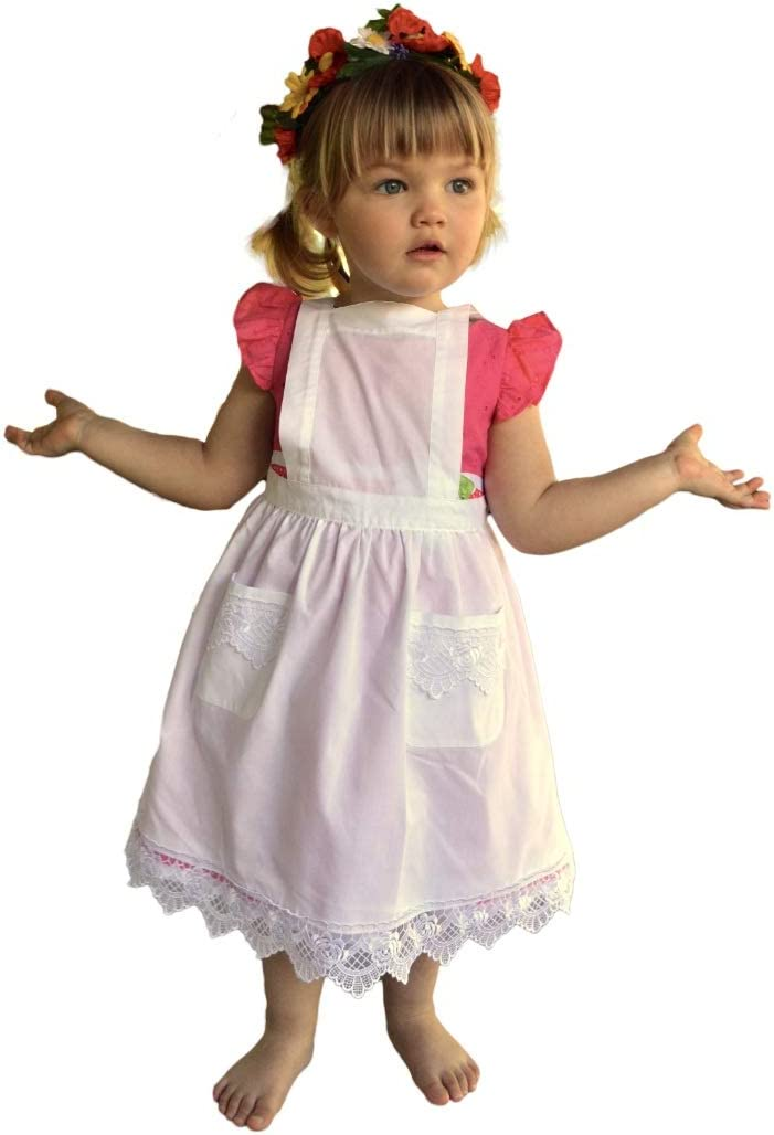 Essence of Europe Gifts E.H.G Deluxe Vintage Lace Full Apron for Girls | Victorian Maid Costume | Kitchen Party | Age 4-8 | Two Pockets | White
