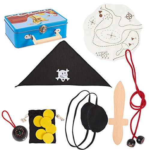 Blue Panda Pirate Costume Set Kid - 15-Piece Role Play Toy Kit Halloween Dress-Up Party