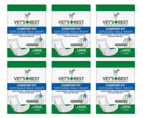 Vet's Best Comfort-Fit Disposable Male Wraps Large (6x12ct) (72 Count) by Vet's Best