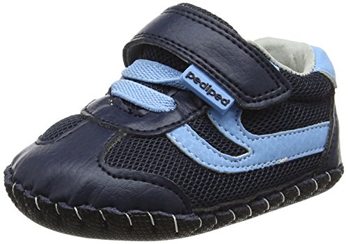 pediped Boys' Cliff Crib Shoe, Navy Sky, 12-18 Months Regular EU Infant (12-18 Months US)