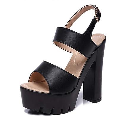 0cf1bf51c1 Simple high Heels Popular Women's Shoes Platform Sandals Casual Shoes(Black1  36/5.5 B