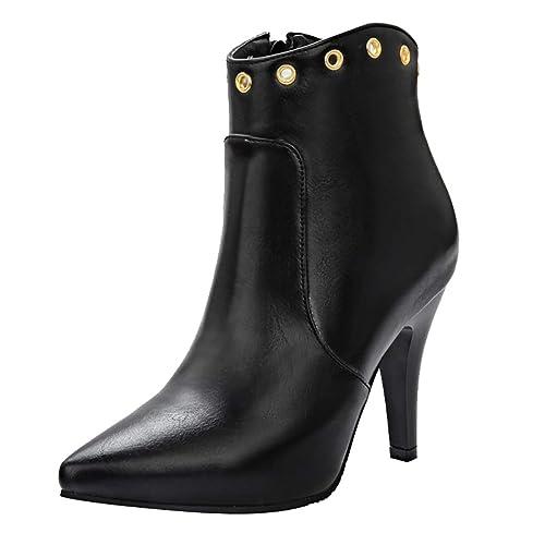 UH Mujeres Bombas de Tacones Altos Cordón Botas Punta Estrecha Zapatos Vestido de Fiesta de la Boda de Las Mujeres del Estilete Botines Cortos Lazo Zapatos: ...